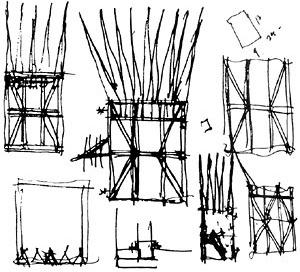 Desenhos de Hejduk para A casa do Suicida