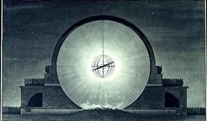 Fig. 5: Étienne Boullée – « Cénotaphe de Newton (1784) » [www.spamula.net/blog/archives/000555.html  / gallica.bnf.fr/ark:/12148/btv1b7701015b]
