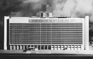 Maquete do projeto original do Hospital de Clínicas (1942), de Jorge Machado Moreira [CZAJKOWSKI, Jorge. Op. cit., p. 121]