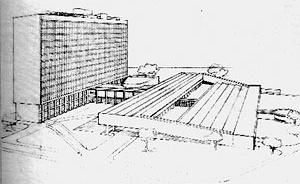 Perspectiva da última versão do Hospital de Clínicas [CZAJKOWSKI, Jorge.  Op. cit., p. 123]