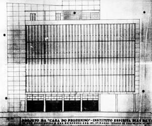 Fachada oeste da Casa do Pequenino (1947) na proposta original, de Holanda Mendonça [Arquivo Público Municipal de Porto Alegre, microfilme n. 197]