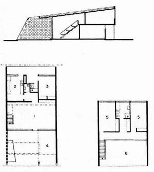 """Padrão de residências """"em fita"""" para o Centro Técnico da Aeronáutica (1947), de Oscar Niemeyer [MINDLIN, Henrique. Modern architecture in Brazil. Rio de Janeiro, Colibris, 1956, p. 136]"""