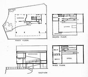 Plantas baixas e corte da Casa da Lagoa (1942), de Oscar Niemeyer [GOODWIN, Philip. Brazil Builds. New York, MoMA, 1943, p. 166]