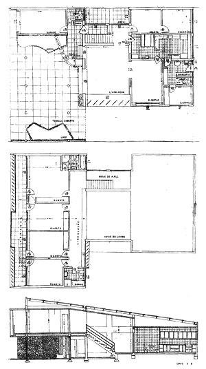 Plantas baixas e corte da residência Casado d'Azevedo [Arquivo Público Municipal de Porto Alegre, microfilme n. 222]
