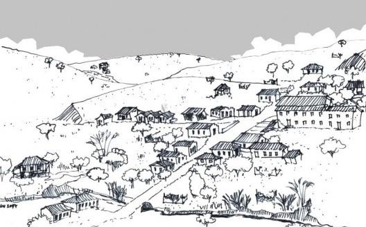 Cidade de Solidão, em algum lugar imaginário do interior do Brasil<br />Desenho Ítalo Stephan