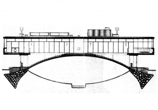 Casa ponte (Casa sobre o arroio), corte longitudinal, Mar del Plata, 1947. Arquiteto Amancio Williams<br />Imagem divulgação