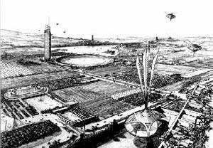 """Broad-Acre-City, desenho de F. L. Wright [HASSENPFLUG, Dieter. """"Sobre centralidade urbana""""]"""