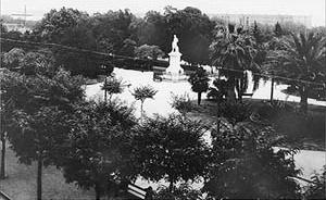 La actual Plaza Roma es uno de los pocos espacios verdes que restan en la traza de la antigua Alameda [Arquivo Geral da Nação]
