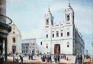 Atrio de la Iglesia de San Francisco según la litografía de Carlos Enrique Pellegrini data 1841 [Arquivo Geral da Nação]
