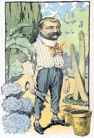 La figura señera de Carlos Thays -el hacedor de una nueva ciudad verde- en una caricatura de principios del siglo XIX de la popular Revista Caras y Caretas