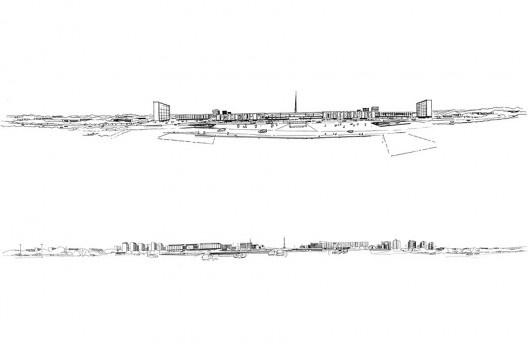 Acima, o Centro idealizado por Lúcio Costa; abaixo, o Centro implantado. Desenhos de Eliel Americo<br />Acervo do autor  [Ver nota 12]