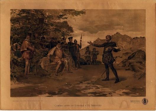 Camões lendo os Lusíadas a Don Sebastião<br />António Ramalho, ca. 1895  [Biblioteca Nacional de Portugal / Biblioteca Nacional Digital]