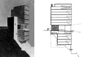 Figura 10 – Le Corbusier, Edifícios para alugar em Argel, Projeto Ponsik, 1933. O pilotis junto ao acesso da edificação possibilita manter as visuais naturais existentes  [MONTEYS, Xavier. Le Corbusier. Obras e projectos. Barcelona, GG, 2005, p. 97]