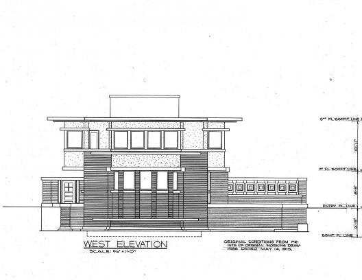 Emil Bach House, elevação oeste, North Sheridan Road, Chicago, Estados Unidos, 1915. Arquiteto Frank Lloyd Wright<br />Redesenho J. William Rudd, 1965  [Library of Congress / U.S. Government]