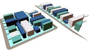 Simulação de implantação total do Plano Diretor em uma zona de Pelotas. As novas normas urbanísticas são aplicadas sobre a estrutura do quarteirão [arquivo do autor]