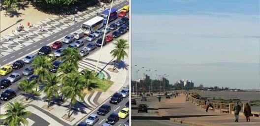 """À esquerda, Rio de Janeiro; à direita, Montevidéu<br />Fotos Servulo Harris Torres e Thomas Massin  [livro """"Conquistar a Rua! Compartilhar sem Dividir""""]"""