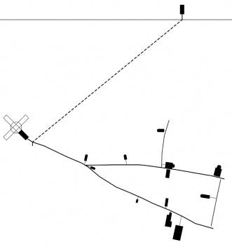 Esquema de organización de los pabellones a lo largo de las vías estructurantes de la ciudad [dibujo de la autora]