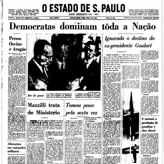 """Somente no dia 3 de abril o jornal """"O Estado de S.Paulo"""" noticia a intervenção militar<br />Imagem divulgação"""