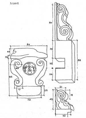 Desenho das peças encontradas na Missão de São Luiz