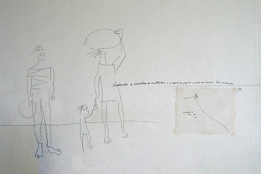 Desenho na parede de escritório de Oscar Niemeyer (ver nota 51).<br />Foto Victor Hugo Mori