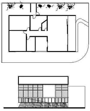 Residência Dorival Barcelar, planta e vista frontal