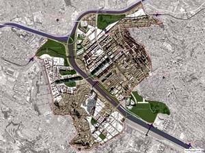 Operação Urbana Vila Leopoldina – Jaguaré. Plano-Referência de Intervenção e Ordenação Urbanística. Vista de conjunto da área de atuação [SEMPLA/PMSP]