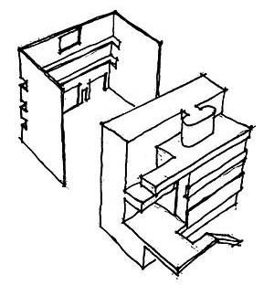Croquis de decomposição volumétrica da Villa Stein, Garches<br />Desenho do autor