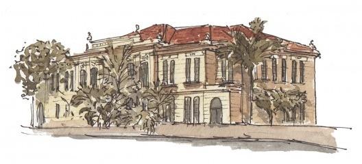 Escola Estadual Rodrigues Alves. Desenho de Fernanda Grimberg Vaz de Campos.