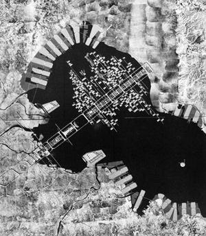 Kenzo Tange, Projeto para Baía de Tóquio, 1960 [BANHAM, Reyner. Megastructuras. Futuro urbano del pasado reciente, Barcelona, Gustavo Gili]