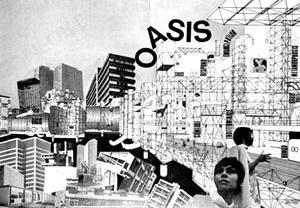 Ron Herron, Colagem Oasis, 1968. Magazine Archigram n. 8, Popular Pack , Londres, 1968 [Archigram Archives]