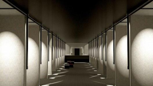 Salão após a obra de revitalização, simulação<br />Imagem divulgação  [escritório MM18 Arquitetos]