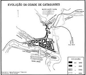 Evolução da cidade de Cataguases MG [CARDOSO, Maria Francisca T. C. Aspectos Geográficos da Cidade de Cataguases, 1956]