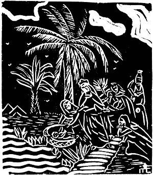 """""""Moyses Salbado de las Aguas"""", linóleum de Maria Clemencia. In Revista modernista """"Verde"""", nº 1, 1929"""