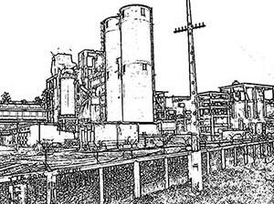 Desenho ilustrativo da fábrica de cimento Santa Rita S.A.