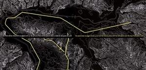 Mapa com itinerário do sobrevôo sobre São Paulo