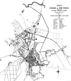 Planta da cidade de São Paulo / levantada pela Companhia Cantareira de Águas e Esgotos / Henry P. Joyner E.I.C.E. / engenheiro chefe, 1881