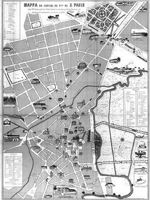 Mapa da capital da província de São Paulo: edifícios públicos, hotéis, linhas férreas, igrejas, bondes, passeios, etc. Publicado por Francisco de Albuquerque e Jules Martin, em julho de 1877