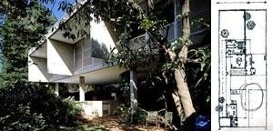 Figuras 31 e 32 – Vilanova Artigas, Casa Domschke, São Paulo, 1974, vista; Vilanova Artigas, Casa Domschke, São Paulo, 1974, planta térrea [ARTIGAS, Rosa et alli (org)]