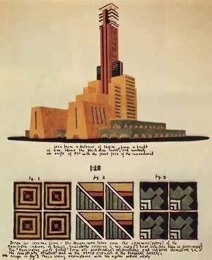 """Projeto para o Farol de Colombo, Flávio de Carvalho, 1929. Fonte: """"Concours pour L`election d´un Phare a la Memoire de Christophe Colomb"""", L´Union Pan-Americaine, 1931, p. 94"""