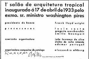 Convite para o 1° Salão Tropical, 1933. Fonte: Alcides Rocha Miranda, Caminhos de um Arquiteto, Lélia Coelho Frota, Editora UFRJ, 1993, p. 23