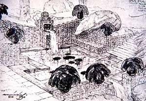 """3. Fernando Correia Dias. Piscina decorada con cerámicas """"marajoaras"""". Casa de Guilherme Guinle (1930). Río de Janeiro (Brasil)."""