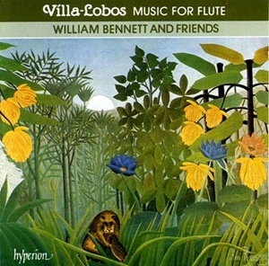 Capa do CD: William Bennett and friends et al. Villa-Lobos music for flute. London, Hyperion, 1989