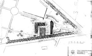 Sigürd Lewerentz, Igreja de São Pedro, Klippan, planta de situação [Janne Ahlin, Sigurd Lewerentz, p. 51]