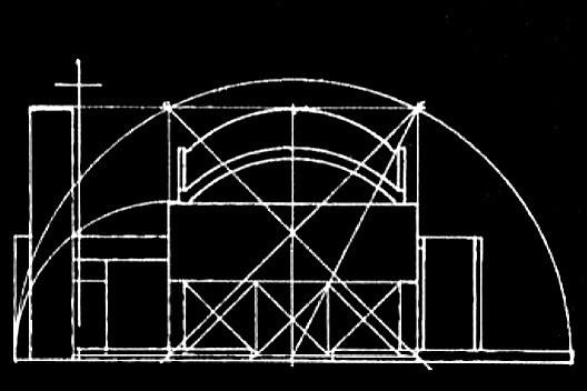 Capela de São Miguel, esquema geométrico, Itu SP, 1994. Arquiteto Affonso Risi