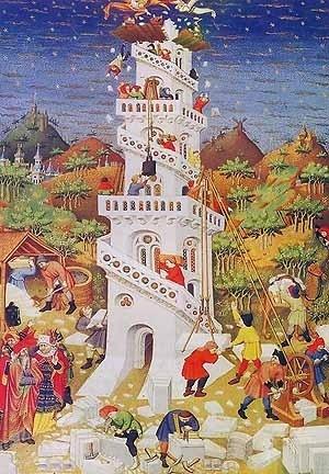 """Duke of Bedford, """"Torre de Babel"""", c. 1423. British Library, Londres"""