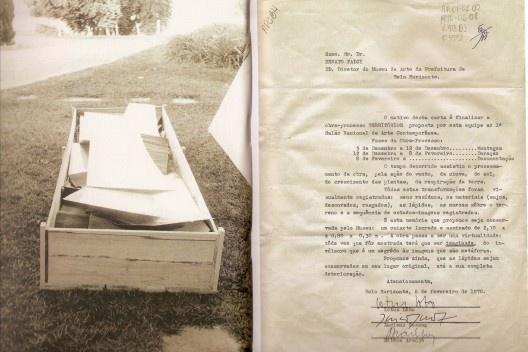 Lótus Lobo, Luciano Gusmão e Dilton Araujo, Territórios Encaixotados, materiais diversos e caixote, 1970, Museu de Arte da Pampulha. [HUCHET, S. Intenções Espaciais. P. 224.]