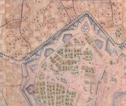Plano geodésico de Barcelona, S. XVIII (fragmento) [Barcelona 1714/1940 [Document cartogràfic]: 10 plànols històrics. Selecció i textos: GARCI]