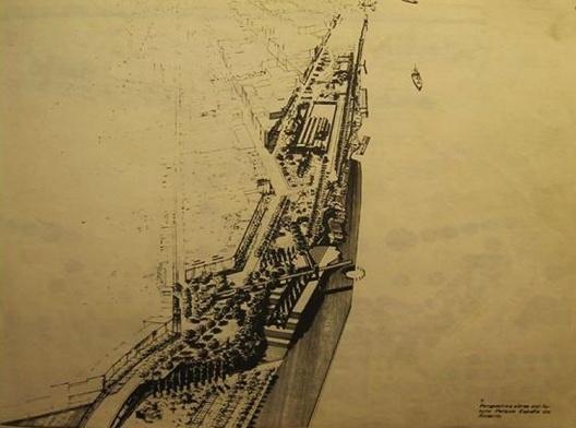 Perspectiva do anteprojeto do Parque España (MBM) [Diario La Nación 27/8/1980]