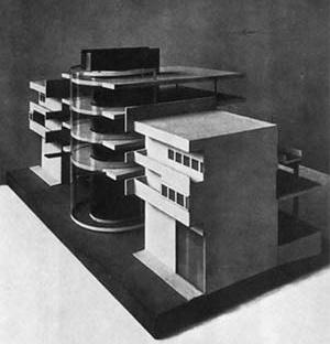 """Figura 03 – Maquete do Concurso para a Zona de Negócios de Haifa. Arquiteto Arthur Korn, Berlim, 1923  [Gropius, Walter: """"Internationale Architektur]"""