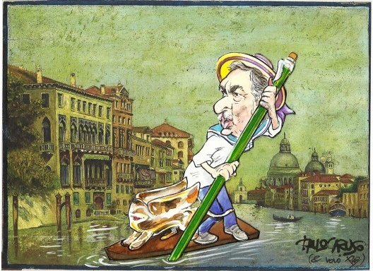 Paulo Mendes da Rocha carregando seu Leão de Ouro no Grande Canal de Veneza, diante do Pallazo Giustinian<br />Cartum de Paulo Caruso  [CAU/BR]
